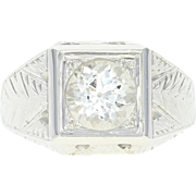 Art Deco White Topaz Ring - 18k White Gold Men's Vintage 1.50ct