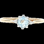Aquamarine & Diamond Accent Ring - 10k Yellow Gold 0.43ctw Round Cut Blue