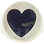 Modernist Sodalite Heart Ring - Sterling Silver Size 11 Cory Blue Stone Vintage