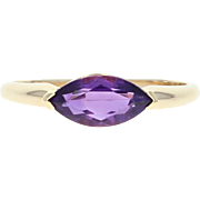 Amethyst Ring - 14k Yellow Gold Marquise Solitaire Birthstone 0.90ct