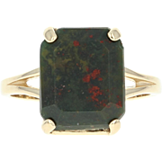 Bloodstone Solitaire Ring - 14k Yellow Gold Women's Size 8