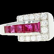 Retro Ruby & Diamond Buckle Ring - Platinum Vintage Baguette 1.00ctw