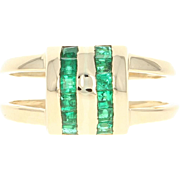 Emerald Double Band Ring - 14k Yellow Gold 0.50ctw Open Step Cut Green