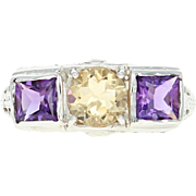 Vintage Art Deco Citrine & Amethyst Ring - 18k White Gold Filigree 1.55ctw