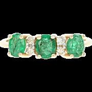 Emerald & Diamond Ring - 14k Yellow Gold Oval Brilliant Cut 1.06ctw