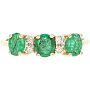 Emerald & Diamond Ring - 14k Yellow Gold Oval Brilliant Cut 1.06ctw