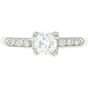 Art Deco Diamond Engagement Ring - Platinum Vintage European Cut .53ctw
