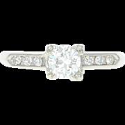 Art Deco Diamond Engagement Ring - Platinum Vintage European Cut .53ctw