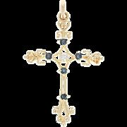 Sapphire & Diamond Cross Pendant - 14k Yellow Gold Round Brilliant .25ctw1