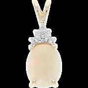 Opal & Diamond Pendant - 14k Yellow Gold Oval Cabochon 1.12ctw