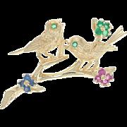 Multi-Gemstone Songbird Brooch - 14k Gold Chrysoberyl Sapphires Rubies .64ctw