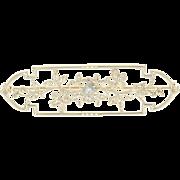 Vintage Botanical Brooch - 10k Yellow Gold Diamond Accent Milgrain