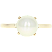 Cultured Pearl Solitaire Ring - 14k Yellow Gold 7.1mm Women's Size 5