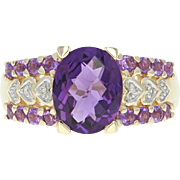 Amethyst & Diamond Ring - 14k Yellow Gold Checkerboard Oval 2.87ctw