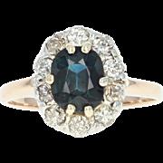 Sapphire & Diamond Halo Ring - 14k Yellow Gold Oval Brilliant 1.60ctw
