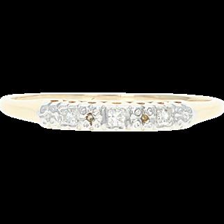 Vintage Wedding Band - 14k & 18k Gold Diamond Accents Women's Ring Size 8 1/4