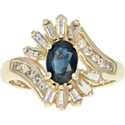 Sapphire & Diamond Bypass Ring - 14k Yellow Gold Halo-Style 1.33ctw