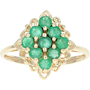 Emerald Cluster Ring - 10k Yellow Gold 0.70ctw Green May Birthstone