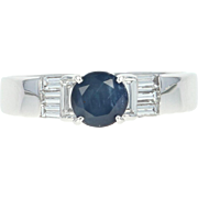 Sapphire & Diamond Engagement Ring - 14k White Gold Round Cut 1.61ctw