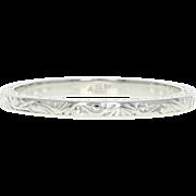 Art Deco Etched Wedding Band - Platinum Vintage Scroll Design Ring Size 6 3/4