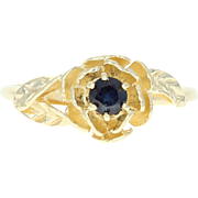 Sapphire Solitaire Ring - 14k Yellow Gold 0.15ct Blue Floral Asymmetric Keepsake