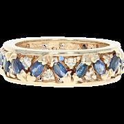 Sapphire & Diamond Eternity Band - 14k Yellow Gold Women's Ring 2.30ctw