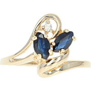 Sapphire & Diamond Accent Ring - 14k Yellow Gold 0.46ctw Marquise Asymmetric