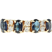 Sapphire & Diamond Ring - 14k Yellow Gold Oval Brilliant 1.48ctw