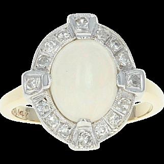 Art Deco Opal & Diamond Halo Ring - 14k Yellow Gold Vintage 2.01ctw