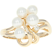 Cultured Pearl & Diamond Bypass Ring - 14k Yellow Gold Women's Size 7