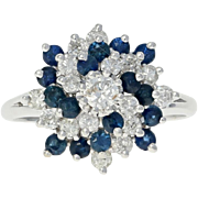 Sapphire & Diamond Swirl Cocktail Ring - 14k White Gold Tiered Cluster 1.65ctw