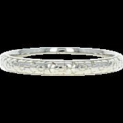 Art Deco Wedding Band - 18k White Gold Etched Vintage Floral Ring Size 6 1/2