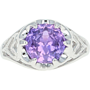Pink Sapphire Solitaire Ring - 10k White Gold 2ct Round Cut Women's Fine