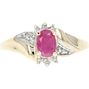 Opaque Ruby & Diamond Ring - 10k Yellow Gold 0.50ct Oval Bypass Women's Fine