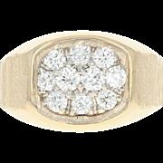 Diamond Cluster Ring - 14k Yellow Gold Men's 12 1/2 Round Brilliant 1.05ctw