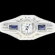 Art Deco Diamond & Synthetic Sapphire Ring - 14k Gold Vintage Old European .19ct