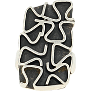 Swedish Modernist Ring - Sterling Silver Vintage 1969 Isaac Cohen