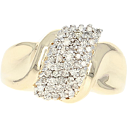 Diamond Cluster Ring - 10k Yellow Gold Bypass Round Brilliant .50ctw