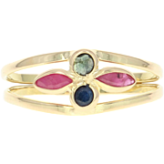 Floral Ruby & Sapphire Ring - 18k Yellow Gold Marquise Brilliant .52ctw