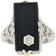 Art Deco Onyx Ring - 18k Gold Vintage Diamond Accent Filigree Size 9