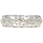 Retro Leaf Ring - 14k Yellow Gold Diamond Accents Milgrain Vintage Size 7