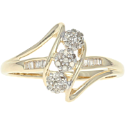 Diamond Cluster Bypass Ring - 10k Yellow Gold Floral Single Cut .10ctw