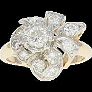 Vintage Diamond Ring - 14k Yellow Gold Round Cut 1.03ctw
