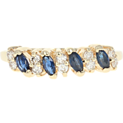 Sapphire & Diamond Ring - 10k Yellow Gold Marquise Brilliant .70ctw