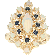 Opal & Sapphire Double Halo Ring - 14k Gold Tiered Cluster Cabochon 1.15ctw