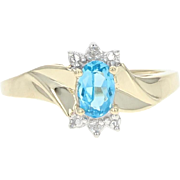 Blue Topaz & Diamond Ring - 10k Yellow Gold 0.51ctw Oval Bypass Women's Gift