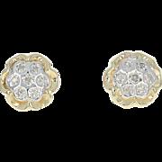 Diamond Cluster Flower Earrings - 10k Yellow White Gold Studs Pierced Floral