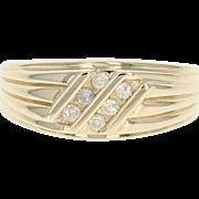 Diamond Ring - 10k Yellow Gold Men's Size 11 Round Brilliant .18ctw