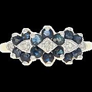 Floral Sapphire & Diamond Ring - 10k Yellow Gold Round Brilliant .77ctw