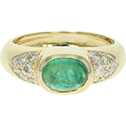 Emerald & Diamond Ring - 18k Yellow Gold Size 4 Cabochon .88ctw